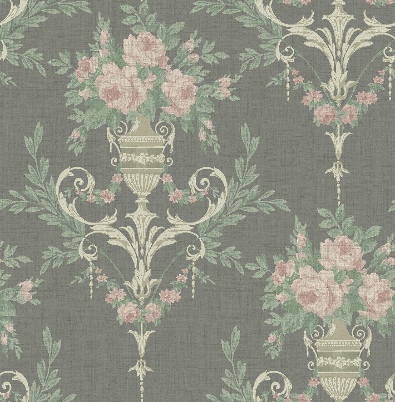 Floral Wallpaper Victorian Damask Black Gold Pink In Vintage