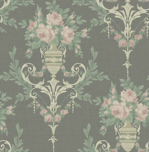 Neoclassical-Floral-Wallpaper-Black-Gold-and-Pink-in-Victorian-Arts-and-Crafts