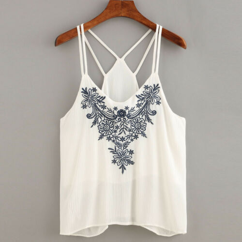 Women Blouse Vest Tank Tops Flower Embroidered Strappy Blackless Vest Cami Tops