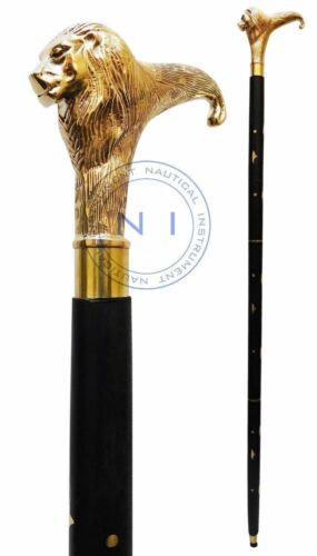 Nautical Antique Style Victorian Designer Lion Handle Wooden Walking Stick Cane
