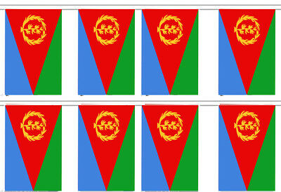 """ERITREA 12/"""" X 18/"""" INCH COUNTRY FLAG BANNER ON 2 FOOT WOODEN STICK"""