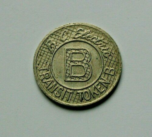 no periods in /'BC/' type British Columbia BC Electric CANADA Transit Token B