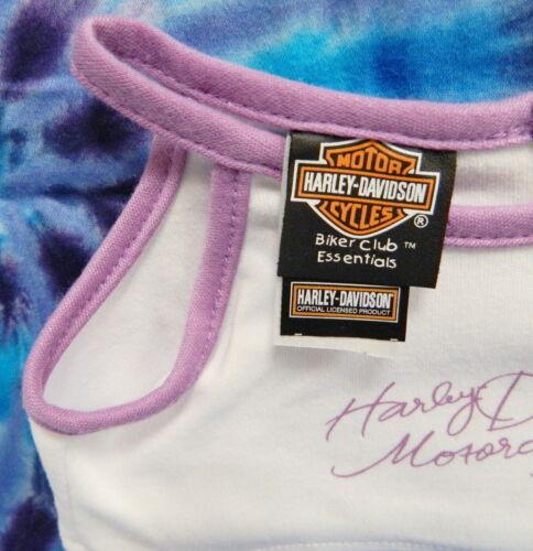 NEW HARLEY DAVIDSON STUFFED BEAR CLOTHES ~TANK TOP CAMI WHITE PURPLE TRIM