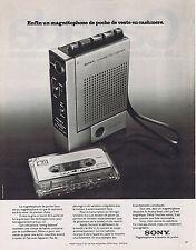 PUBLICITE ADVERTISING 084 1974 SONY un magnétophone de poche de veste