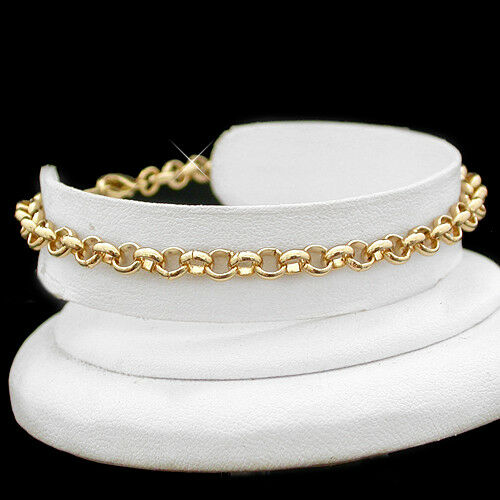 """11/"""" 4.5mm BELCHER Link 14k Gold EP Anklet FOOT Ankle CHAIN Fashion Beach Jewelry"""