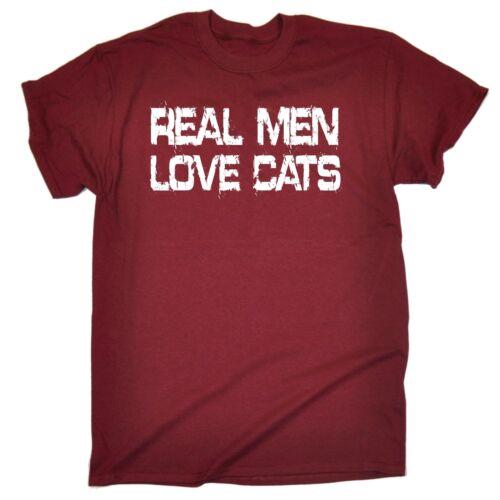 I veri uomini Love Gatti T-shirt Tee per lui Gattino Kitty Regalo Di Compleanno Divertente Regalo