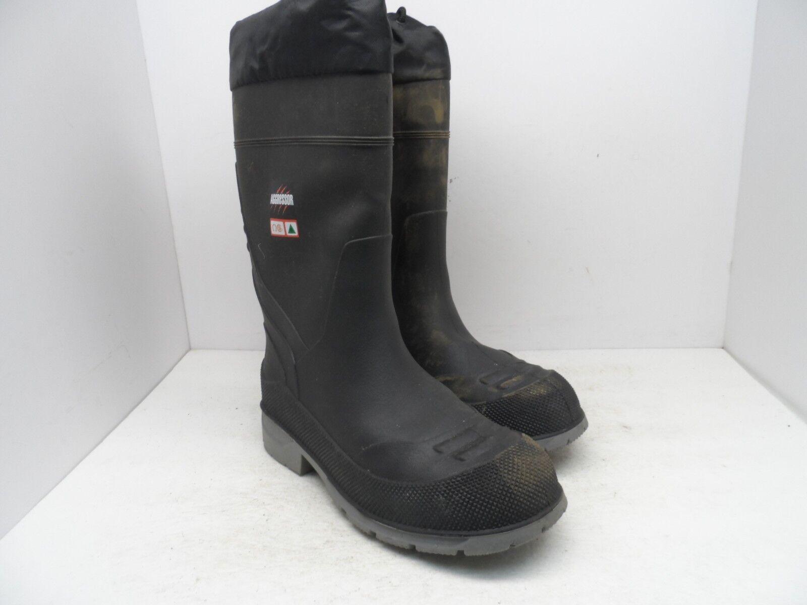 Aggressor Men's 13  Insulated Steel Toe Rubber Steel Plate Work Boot Black 8M