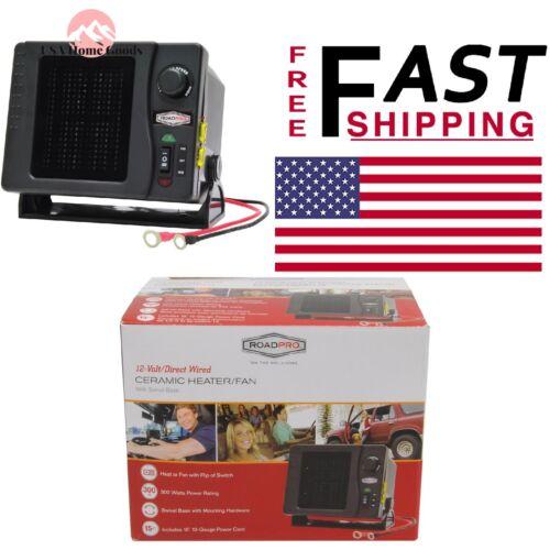 RoadPro Direct Hook Up Ceramic Heater Fan 12V Swivel Base Car Truck Boat Kit