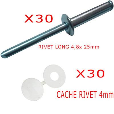 Lot de 30 Rivets 30 CACHE pop long alliage 4,8 x 25 mm plaque IMMATRICULATION