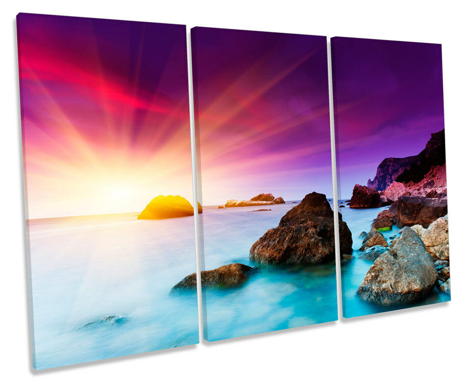 Sunset Seascape Beach Beach Beach Scene TREBLE CANVAS WALL ART Box Framed Print 009fb9