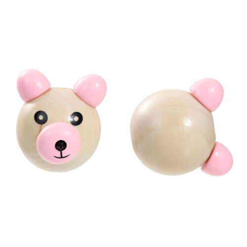 Perle 3D Ourson Rose 25mm Tete Ours creation attache tetine.. Perle ours 2,5cm