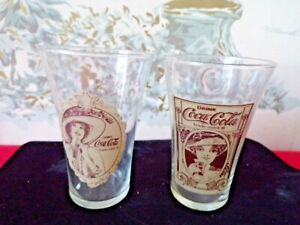 Set of Vintage COCA-COLA The Archives Re-Creation Flair 16 oz Drinking Glasses