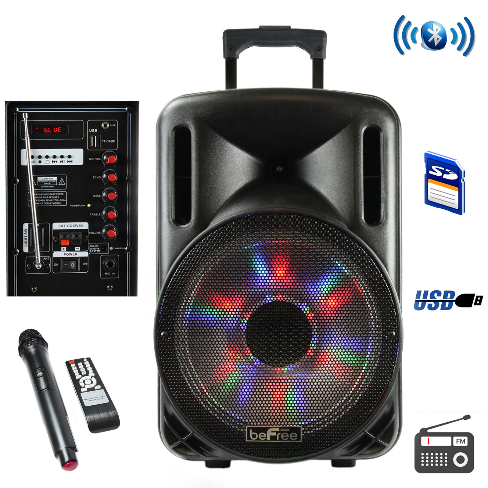 BeFree Sound 12 Inch blueetooth Rechargeable Party Speaker With Illuminatiing Lig