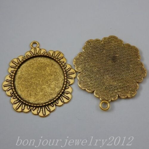 50307 Vintage Gold Alloy Lace Edge Round Setting Tray Pendants Charms Crafts 10x