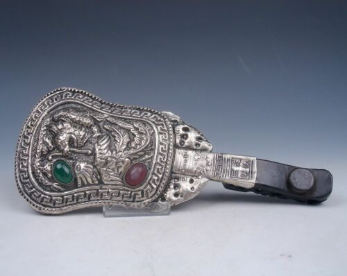 Tibetan Copper Silver Traditional Hand-Held Mirror Dragon Phoenix Relief 2 Beads