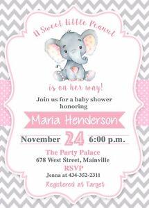 Elephant Baby Shower Invitation Girl Elephant Baby Invitation