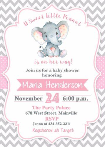 Invitation Elephant Baby Shower Invitation Baby Shower Elephant Girl Baby