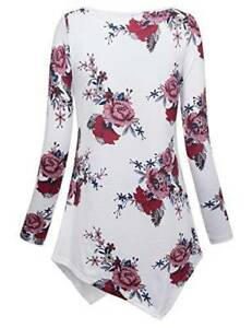 487caf7c4b Details about Womens Loose Tunic Long Sleeve Boho Floral Print Plus Size  Top Blouse T Shirt US