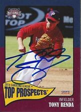 Tony Renda 2014 Carolina League Top Prospects Potomac Nationals Signed Card