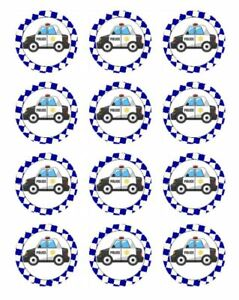 30 POLICE CAR Cupcake Edible Wafer Paper Birthday Party Cake Decoration Toppers