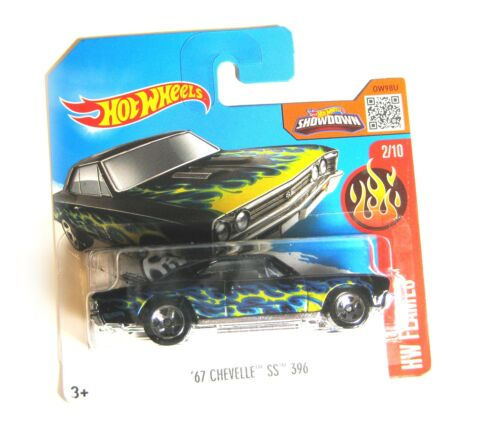 Hot Wheels Chevrolet Chevelle SS 396 schwarz Flames 2//10