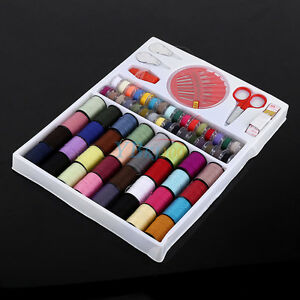 100pcs Sewing Kit Measure Scissor Thimble Thread Needle Home Travel Set + Box