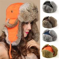 Men Ski Cap Rabbit Fur Earflap Bomber Trooper Trapper Hot Chic Ear Flap Hat Caps