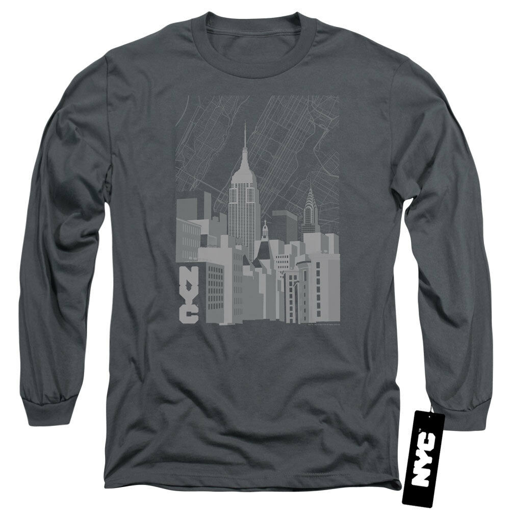 NYC Long Sleeve T-Shirt Manhattan Monochrome Buildings Charcoal Tee