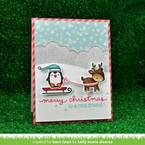 Details about Lawn Fawn clear acrylic stamps & matching dies- TOBOGGAN