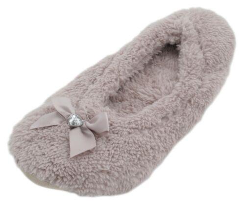 Ladies Fleece Ballerina Slippers With Bow