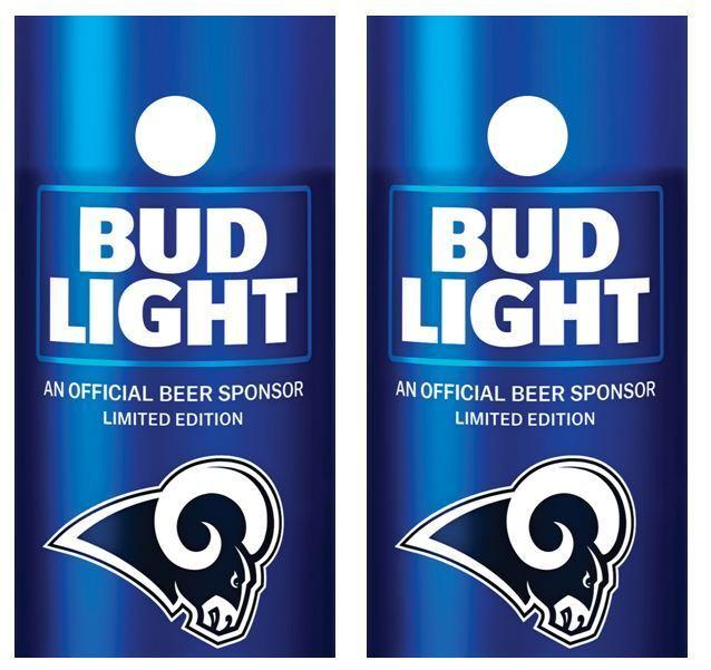 Bud Light    Los Angeles Rams Cornhole Board Skin Wrap FREE Laminate  clearance