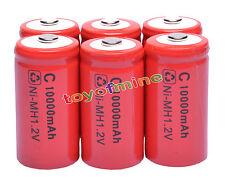 6 x tamaño C ROJO celular recargable 1.2V Ni-MH 10000mAh Batería
