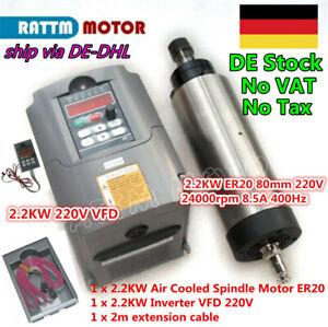 Details zu ┃Ger┃ 2.2KW ER20 Luftgekühlter Spindelmotor +Inverter on