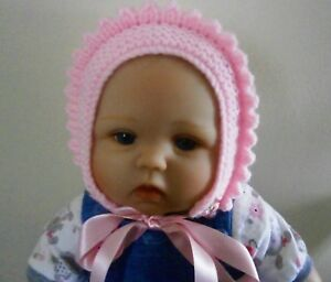 Image is loading Hand-Knitted-Baby-Girls-Bonnet-Hat-5-sizes- bb88f1b475c