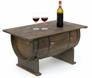Détails sur Table Basse Tonneaux de Vin 5084 en Bois Étagère à 80 cm  D\'Appoint BAR