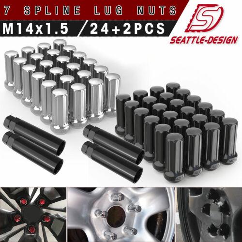 14x1.5 Trucks Lug Nuts fits Ford & Chevrolet & GMC 6x139.7 6x5.5 - Chrome/Black