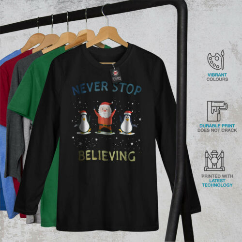 Believing Graphic Design Details about  /Wellcoda Holidays Christmas Mens Long Sleeve T-shirt