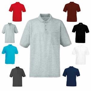 Men-039-s-Polo-Collared-Shirt-with-Pocket-Plain-Pique