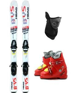 107cm-HEAD-BYS-TYROLIA-SKIS-BINDINGS-BOOTS-2-4-PACKAGE-USED-KID-YOUTH-MASK