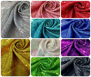 Holographic Glitter Sequins Swirl On Polyester Spandex 2 Way Stretch Black