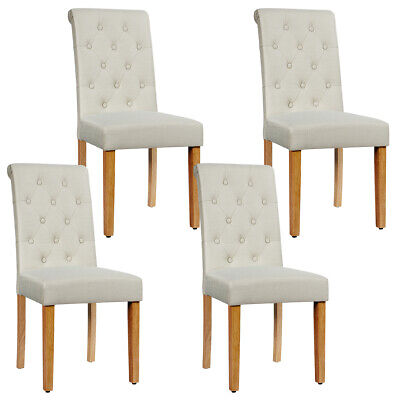 Set of 4 Tufted Dining Chairs Parsons Upholstered Linen ...