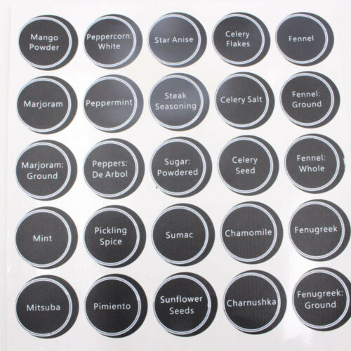 320 Printed Spice Jar and Pantry Label Set Chalkboard Round Stickers Labels