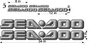 "YELLOW SEA-DOO 3D Logo 34/"" Vinyl Vehicle Personal Watercraft Decal Bonus Pk"