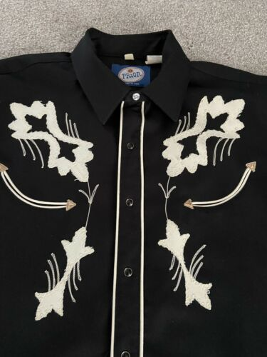 Prior Mens Western Shirt Gabardine Vintage Embroid