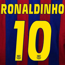 RONALDINHO #10 BARCELONA NUMERO HOME KIT NAME SET PRINTING 2005-2006