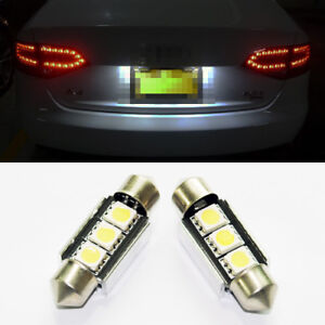 2x Error Free White LED License Plate Light Bulbs 3 SMD Festoon 6418 C5W For BMW