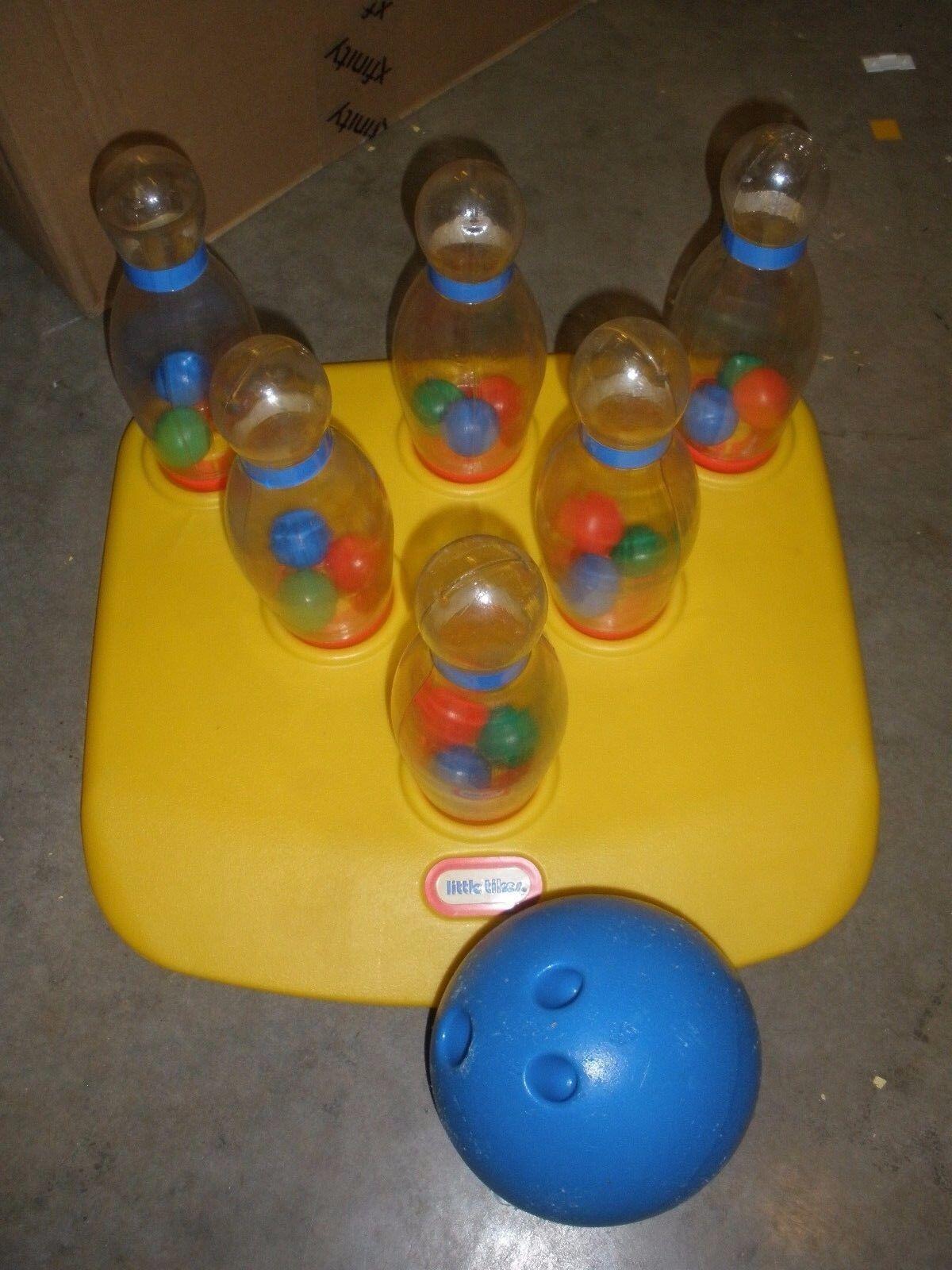 Vintage Little Tikes BOWLING SET Plastic bluee bluee bluee Ball 6 Clear Pins L@@K  Rare 5a0a2c