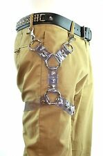 Thigh Harness Leg Garter with Double Ring D ring & Clasp-Clear Vinyl PVC