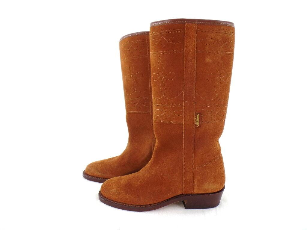 Western botas tamaño 35 EE. UU. 4 ante marrón nobuck nuevo.