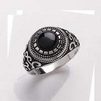 Platinum Plated Solid Sterling Silver Real Onyx Ring Sizes T - Y